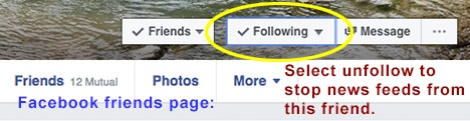 Submenus available on selected friends page